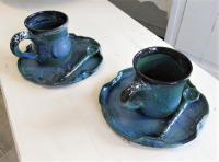 tasse, sous-tasse et petite cuillère en grès, fabrication artisanale française