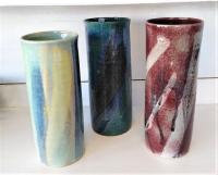 vases droits, poteries en grès tourné émaillé par un artisan potier français