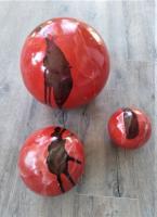 ensemble de 3 boules rouges en grès, poterie artisanale française