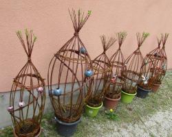 sculptures végétales en osier vivant et céramique