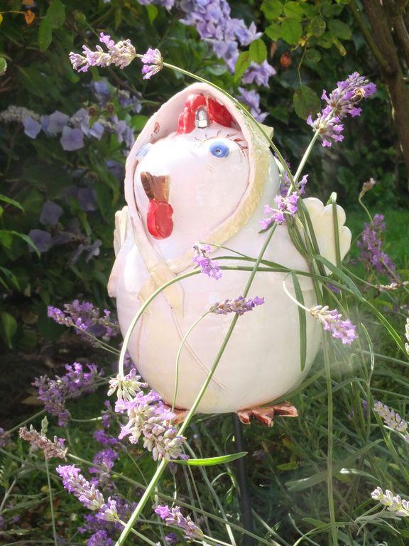 Antoinette La Poule Poterie De Jardin En Gres Tourne Emaille