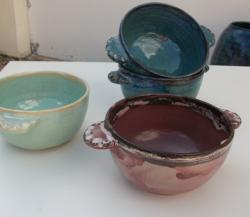 bols à oreilles en grès tourné, poteries