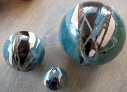 ensemble de 3 boules déco en grès