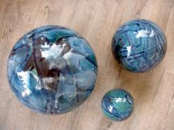 ensemble de 3 boules en grès pour déco de jardin, fabriqué en France