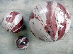 ensemble de 3 boules en grès émaillé pour déco extérieure