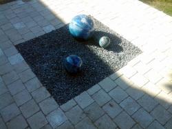 ensemble de 3 boules bleu vert en grès