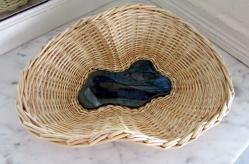 Coupe grès et osier, vannerie sur céramique