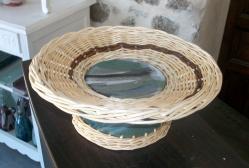 coupe tournée en grès émaillé avec vannerie osier