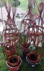 sculpture végétale en osier et dés en grès
