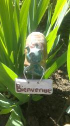 escargot bleu vert en céramque pour l'extérieur