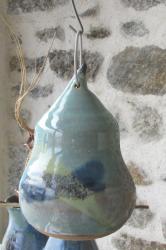 mangeoire à oiseaux en grès émaillé tournée par un artisan potier
