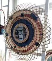 miroir en osier et poteries, miroir artisanal vintage en rotin