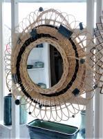 Miroir vintage osier et grès, fabrication française