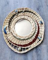 miroir osier vannerie poterie en grès émaillé, miroir vintage rotin