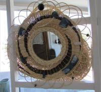 miroir osier vannerie poterie en grès émaillé