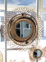 Miroir osier et grès, miroir vintage, artisanal, fabrication française