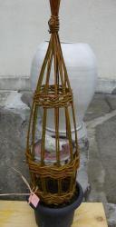 sculpture végétale avec oiseau en grès