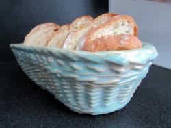 corbeille à pain en grès émaillé, imitation vannerie