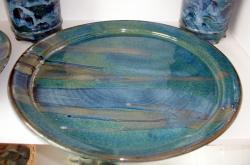 Plat de service bleu vert en grès tourné, vaisselle