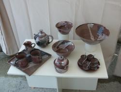 poteries en grès émaillé rose