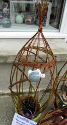 sculpture osier vivant et tortue en grès émaillé