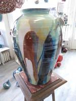 grand vase en grès tourné émaillé, poterie, céramique artisanale