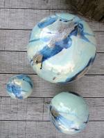 ensemble de 3 boules vertes claires pour déco de jardin